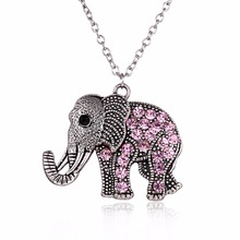 Retro Classical Animal Elephant Pendant Long Necklace Jewelry Women Sweater Necklace Pink Rhinestone Jewellery Accessories New