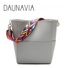 DAUNAVIA Luxury Brand Designer Bucket bag Women Leather Wide Strap Shoulder bag Handbag Large Capacity Crossbody bag Color 5(China)