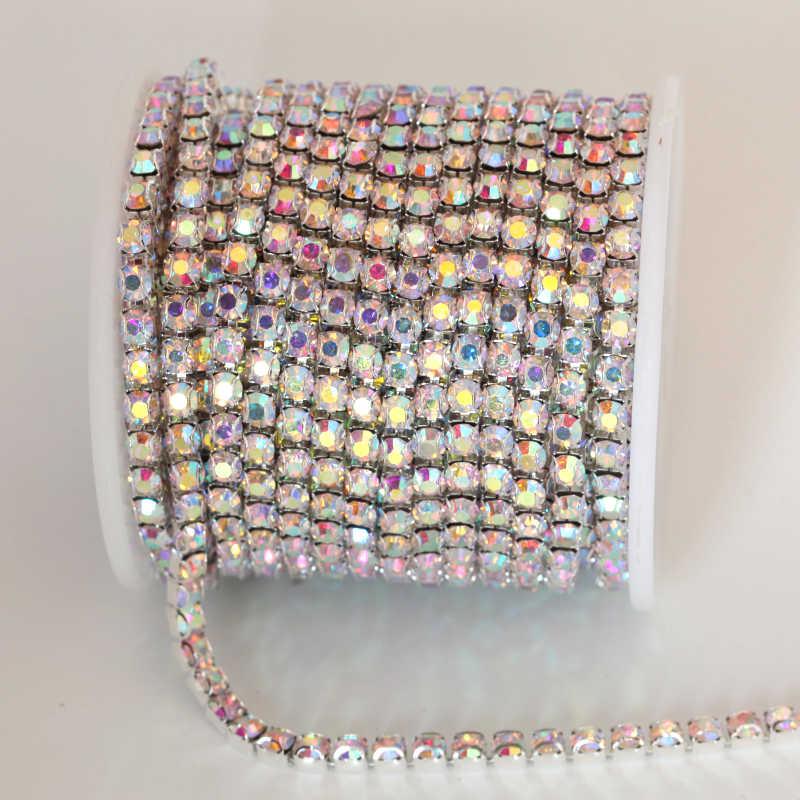 ss16 1 yard Clear AB Crystal AB D Claw Rhinestone Chain Glass Sew On  Trimming Intensive a4ff61bda62a