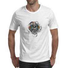 Mechanical Face T Shirt Gear Machine Cyborg Abstract Modern Art Pop Art Creative Casual Cool T-shirt Rock Style Skate Unisex Tee(China)