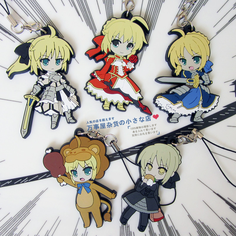 Saber Anime Fate Stay Night UBW Fate Zero Type Moon Rubber Resin Kawaii Keychain Pendant<br><br>Aliexpress