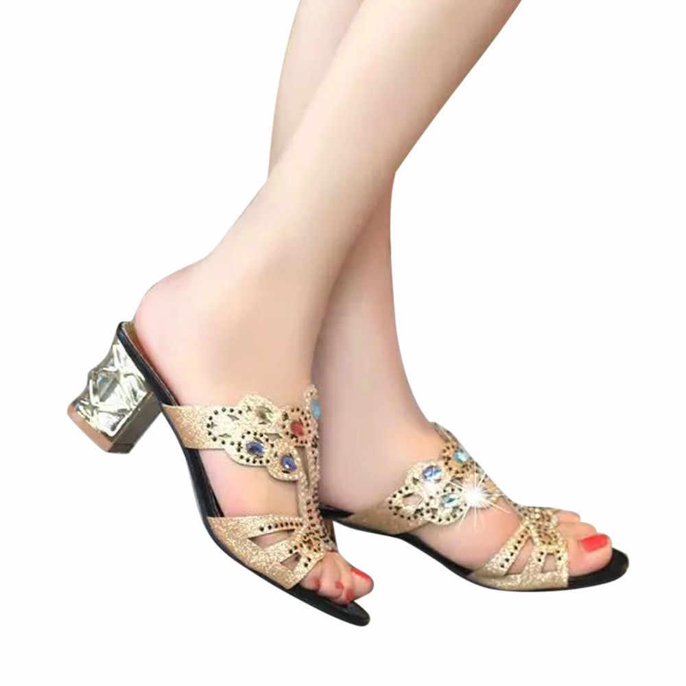 4ac850982 YOUYEDIAN zapatos de mujer Sandalias de tacón de moda de verano de las  mujeres chica grande