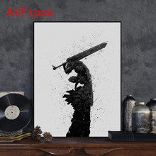 AtFipan Wall Pictures For Living Room Japanese Pop Animation Berserk Canvas Big Art Poster Oil Painting On The Wall Art Cuadros