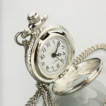 NEW SILVER A HEART TONE LADY GIRL NECKLACE POCKET WATCH freeship hot(China)