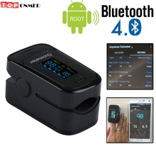 9%off Andriod Mobile Bluetooth 4.0 OLED Pulse Oximeter Blood Oxygen SpO2 Saturation Monitor SPO2 PR PI Alarm+Beep+Blue Case/Bag(China)