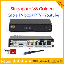 New arrival!2PCS 2017 Most stable Singapore cable tv box V8 GOLDEN  black box watch ala starhub ch free 239 internet chanls qbox
