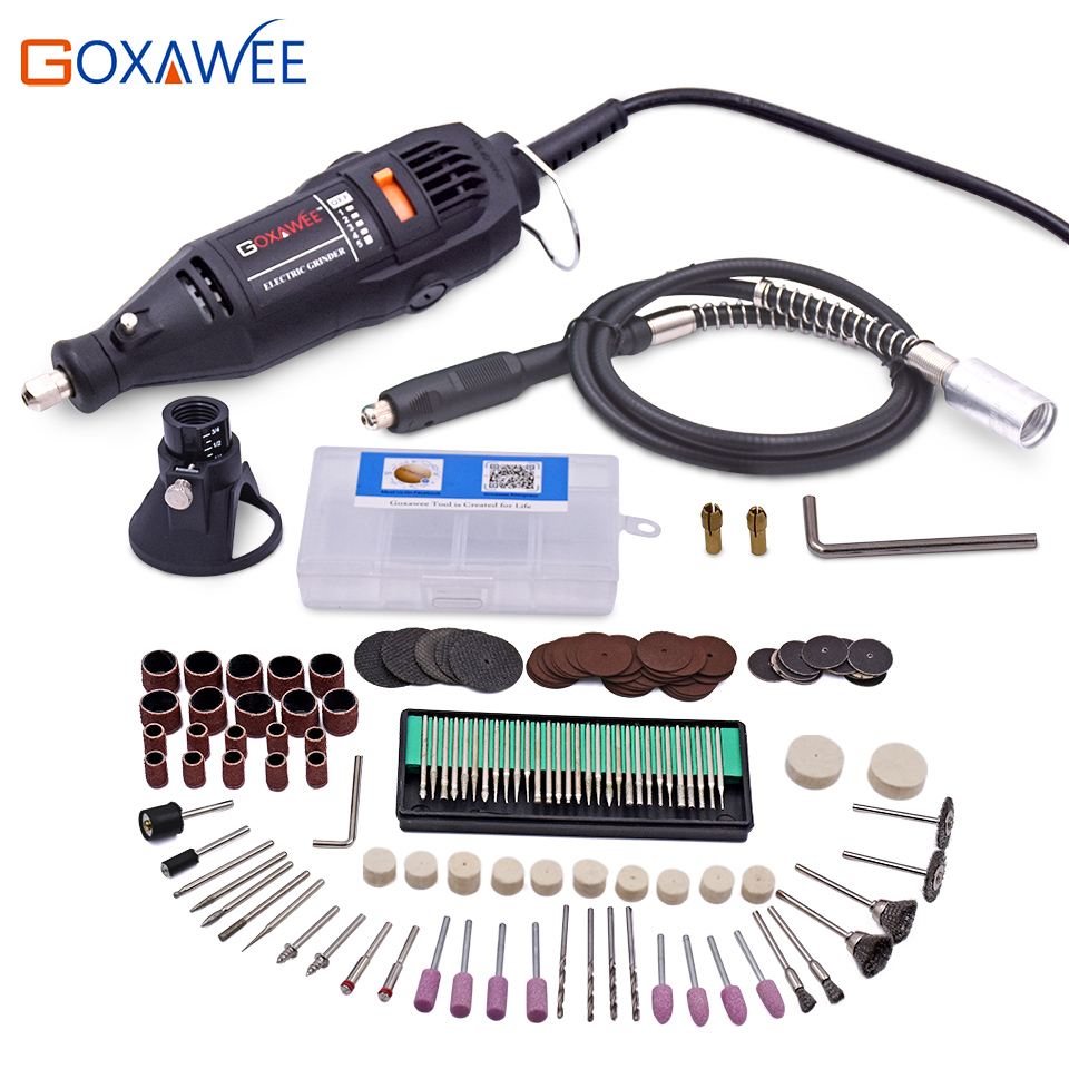 GOXAWEE 110V 130W Electric Mini Drill Dremel Style Electric Rotary Tool Mini Grinder w/Flexible Shaft 160pc Accessory Power Tool<br>