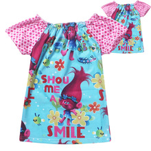 2017 Baby Girl Dress Elf Trolls Clothes Magic Girl Dresses Children Top Tees Girl Clothes Princess Party Dress Baby Clothing