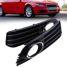 Black Auto Car Front Lower Bumper Grille Fog Light Decoration Cover Car Styling Fit for Audi A4 B8 2007-2011 Pre-facelift(China)