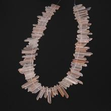 Tiny Natural Pink Quartz Top Drilled Briolettes Stick Points Necklace strand,Raw Crystals Rough Stones Tusk Spike Beads Pendants(China)