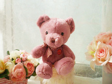 new plush small cute dark pink teddy bear toy lovely teddy bear doll gift about 25cm157(China)