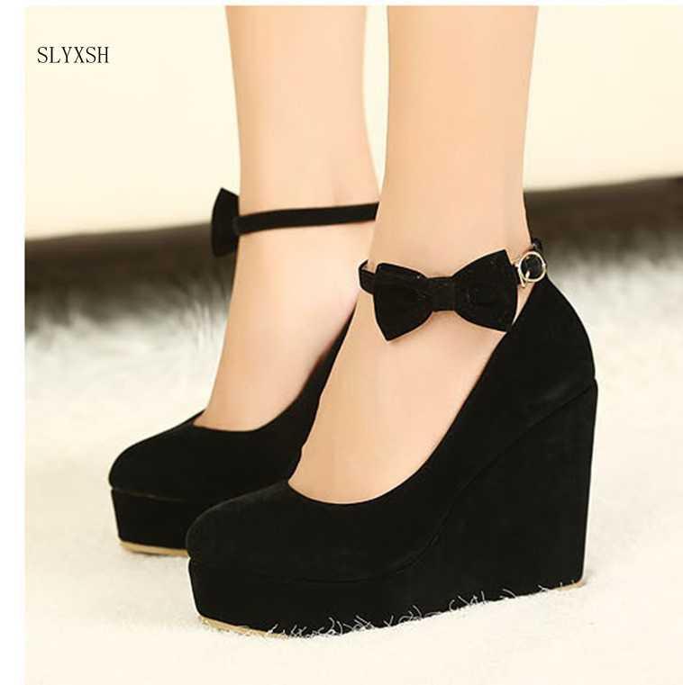 New hot Women High Heels Shoes Plus Size Platform Wedges Female Pumps  Elegant Flock Buckle Bowtie 29a4855410e4