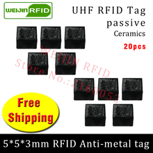 UHF RFID metal tag 915m 868m EPC ISO18000-6c 20pcs free shipping tools management 5*5*3mm micro square Ceramics passive RFID tag