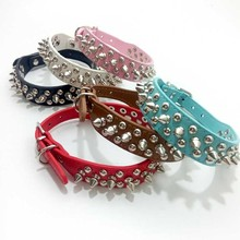 6 Color Fashion PU Dog Collor Studded Round Bullet River Pitbull Collars Leather Accessories XXS-L For Pet Small Medium Dogs