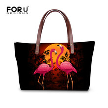 FORUDESIGNS Fashion Women Beach Tote Bags 3D Animal Flamingo Printed Large Messenger Bag for Female Shoulder Handbag Bolso Mujer(China)