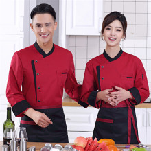 Hot Sale Unisex Long Sleeve Chef Uniform Western Restaurant And Cake Baking Jacket Conrast Stand Collar Uniform Clothes CP13