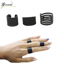 3pcs/set Black Opening Pinky Ring Set Women Jewelry Accessories Fashion Mid Finger Knuckle Rings Girls Party Friends Bijoux Gift