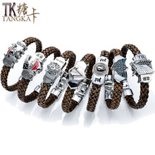 ONE PIECE Attack on Titan Japanese Anime bracelet metal leather theme Bangles Chain Pendant  catenary bracelets & bangles