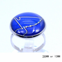 St. Louis Blues Ring Ice Hockey Charms NHL Sport Jewlery Round Glass Dome Silver Plated  Ring For Women Girl Adjustable