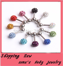 2015 New Arrival Big Discount 5mm Crystal Ball 2pcs Fake Ear Gauge Stud Woman Earring Fashion Jewelry Piercing(China)