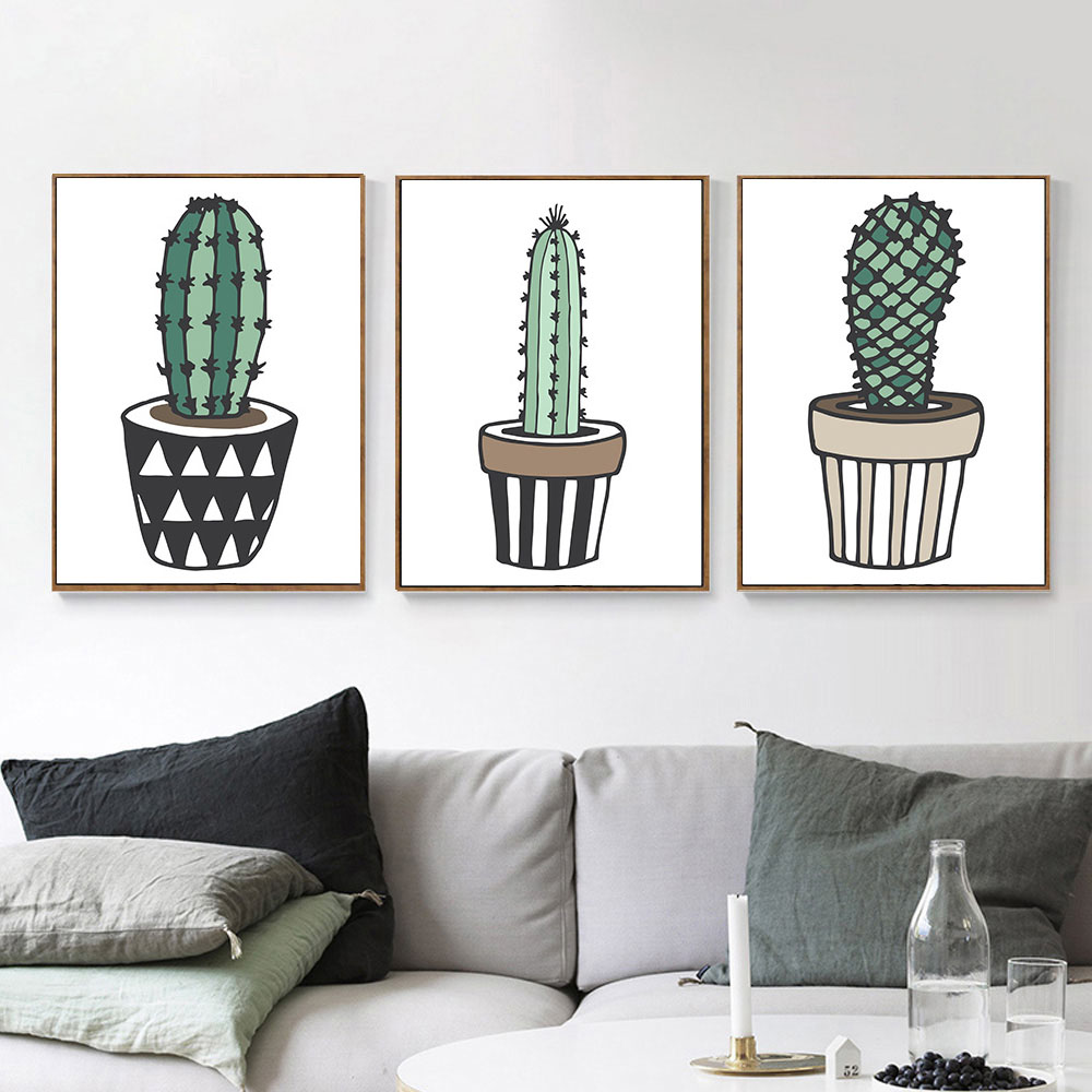Nordic-Art-Plant-Cactus-Canvas-Poster-Painting-Modern-Nursery-A4-Wall-Picture-Children-Kids-Room-Decoration