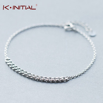Kinitial 1Pcs 925 Silver Twist Chain Bracelet & Bangle Trendy Bracelet Jewelry Lady Men