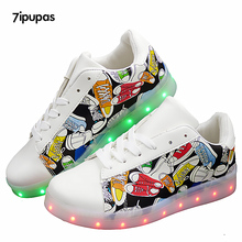 7ipupas Led glowing kids shoe Low Wholesale Price shoe for boys girls with Canvas painting 11 colors lights up sneakers Luminous(China)