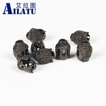 Ailatu 10 Pcs/lot Cubic Zirconia Pave Classic Buddhist Big Buddha Head for Bracelet or Necklace Jewelry(China)