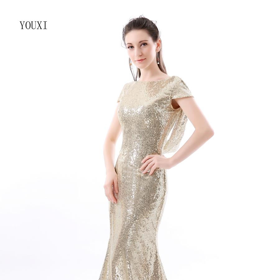 Champagne Sequin Bridesmaid Dresses 2017 Hot Long Wedding Party Dress vestidos de festa vestido longo Prom Dress 2