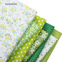 TIANXINYUE 7pcs 50cmx50cm Green 100% Cotton Fabric for patchwork sew DIY Quilting fat quarter Textile clothing flower fabric(China)