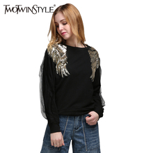 Angel wing bead piece stitched bead personality splicing net gauze long sleeve sweater QD01(China)