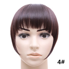 #4 Chocolate Brown Color Synthetic Hair Fake Bangs Side symmetry Fringe Bangs 2Clips Clip In Hair Extensions Fashion Hairpieces