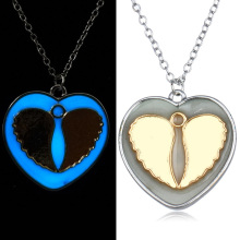 Angel Wings Luminous Stone Necklaces Heart Glow In The Dark Necklaces Pendants Friendship Valentine's Day Gift 2017