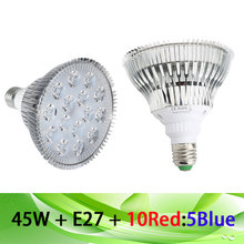 45W AC85-265V E27 10Red 5Blue LED Grow Light Lamp For Plants Tent Aquarium Green Vegetables And Hydroponics Free Shipping(China)