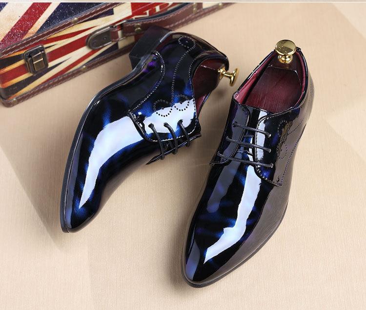 NPEZKGC Big Size 38-48 Men Shoes PU Leather Casual Shoes Fashion Lace Up Oxfrds Shoes Breathable Patent Leather Men Flat Shoes 13