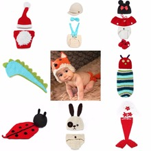 Newborn crochet baby costume photography props knitting baby hat bow baby photo props newborn baby girls cute outfits(China)