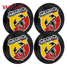 4pcs Newest 56.5mm Abarth logo car emblem Wheel Center Hub Cap badge covers for FIAT 124 125 125 500 695 OT2000 Coupe 5JA601151A(China)