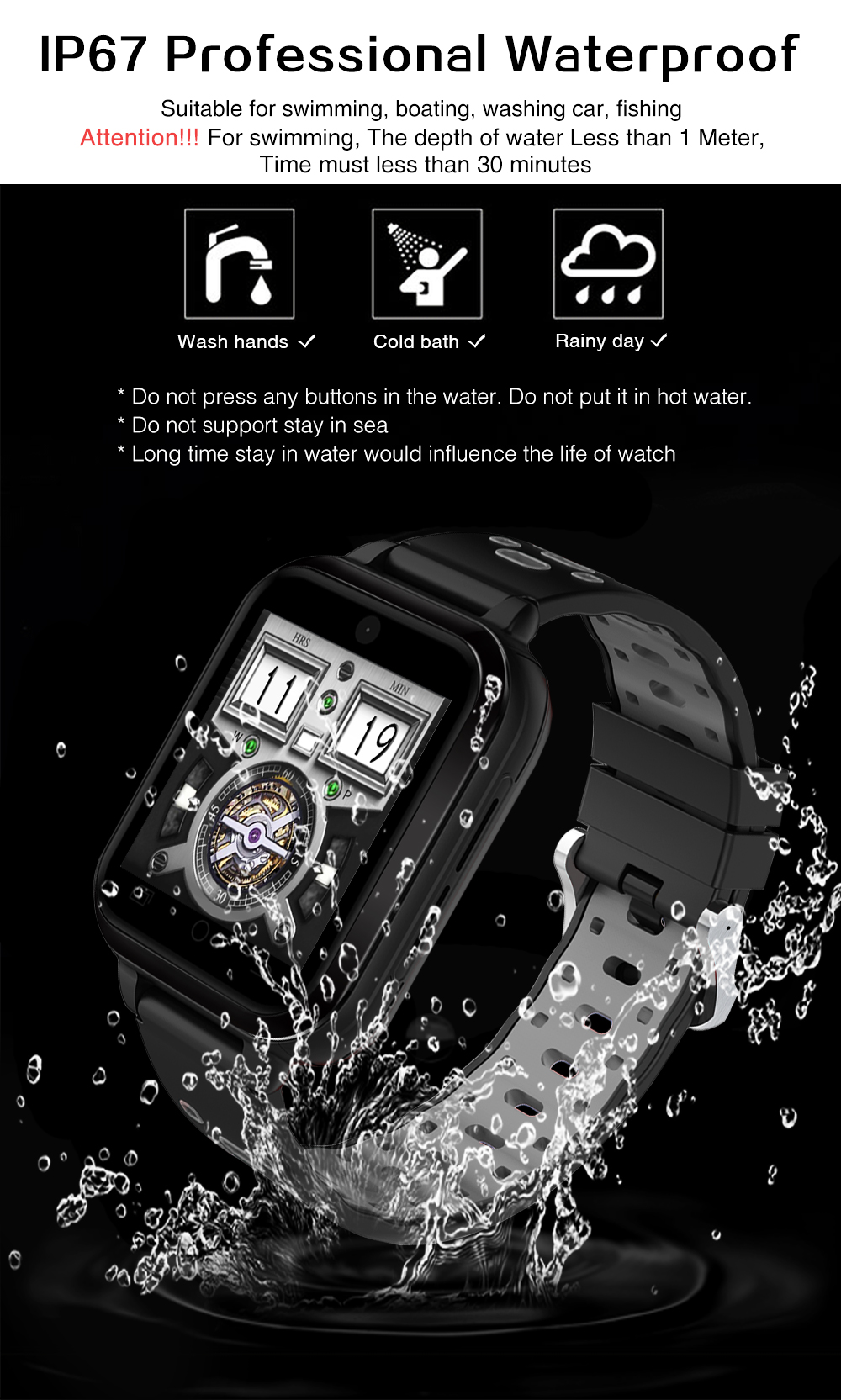 Torntisc Q1 Pro 4G smartwatch Android 6.0 MTK6737 Quad Core 1GB8GB Watch Phone Support Blood pressure Heart Rate monitor Sim Card WIFI GPS Wristwatch for Android (9)