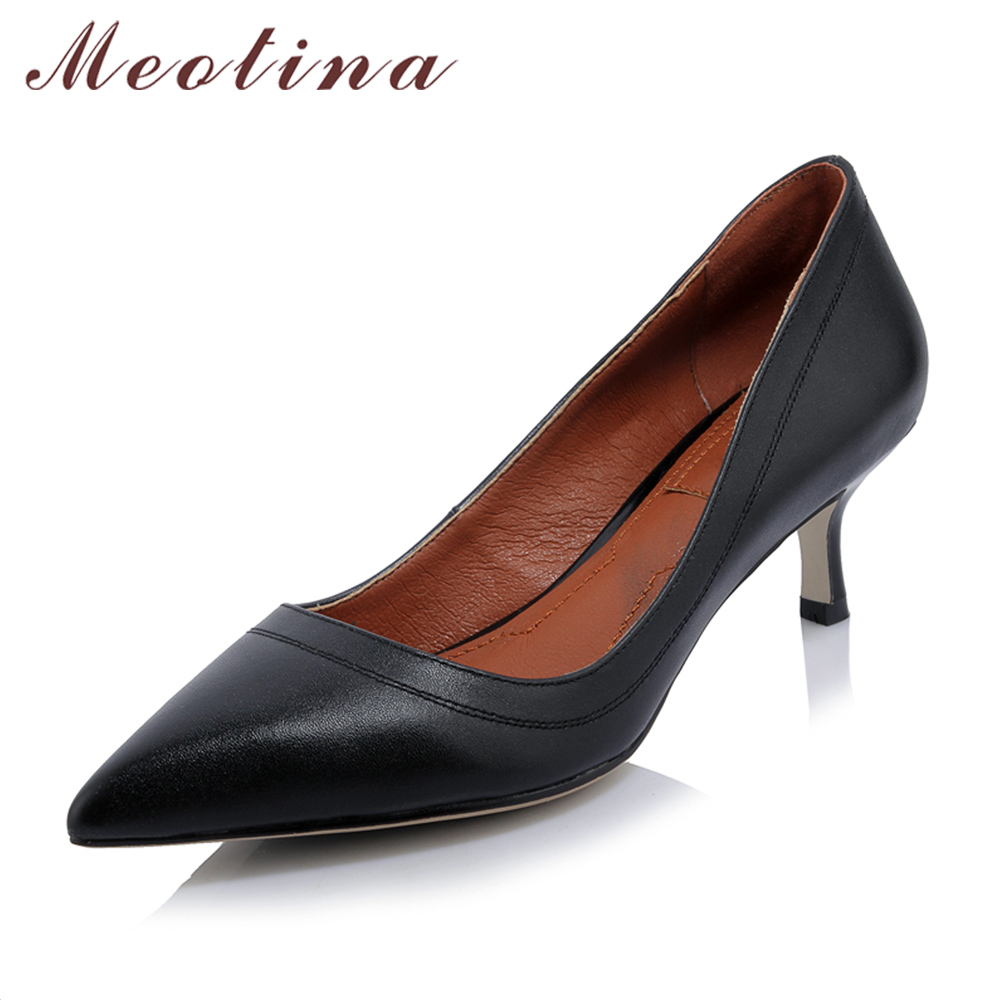 Meotina Genuine Leather Shoes Women High Heels Pointed Toe Office Lady Work Shoes Natural Real Leather Pumps Black White 34-40<br>