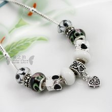 European Style 925 Silver pendant necklace With Murano Glass Beads Handmade Silver jewelry wedding PA2014