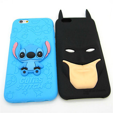 Fashion 3D Cartoon Stitch Batman Rubber Soft Cute Back Cover for Apple iPhone 6 6s plus 5.5' Funny Silicone Phone Case Shell