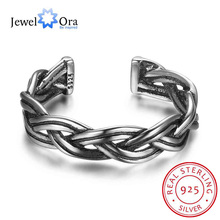 New Women Real 925 Sterling Silver Ring Open Adjustable Finger Ring Wave Shape Vintage Style Gift to Girls JewelOra RI102694(China)