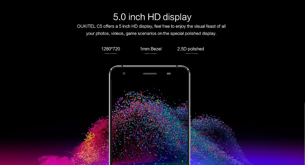 image for Oukitel C5 Smart Phone 3G WCDMA Android 7.0 Mobile Phone Tough Screen