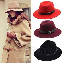 Fashion Design Women Eaves Belt Woolen Cap Warm Winter Wool Belt Fedora Cap Wide Brim Cowboy Hat New(China)