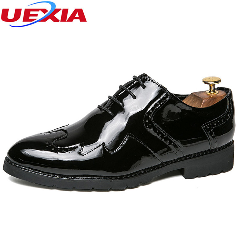 UEXIA New Autumn Classic Brogue Oxford Men Casual Shoes Brand Handmade Walking Flats Men Leather Shoes Lace Up Mens Dress Shoes<br>