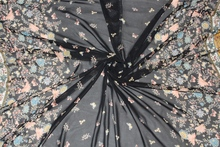 150cm width 75d printed chiffon fabric butterfly and flower CH6359 for summer skirt suit-dress black
