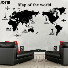 World Map Wall Sticker World of Map Trip Modern Wall Decal Glass Door Decorative Stickers Decals For Kids Room Bedroom Decor
