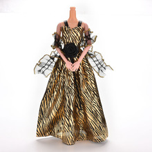 Lady Stripe Golden Fantasy Doll Clothes Handmade Party Outfit Fashion Dress For Barbie Doll
