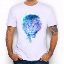Spring summer fashion men's short sleeve king lion T-Shirt Light blue Captain lion Tees lion lovers casual man Tops male t shir(China)