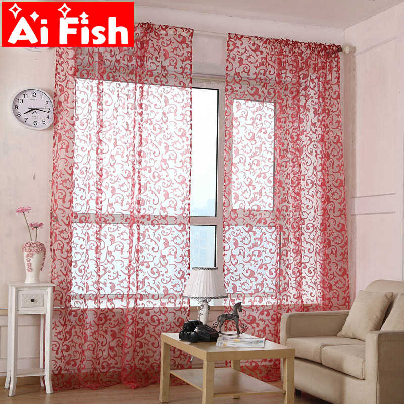 Red Pteris Tulle Rustic Jacquard Organza Voile Curtain Fabric Pink Curtains for Living Room Gauze Yellow For Window AP173-15